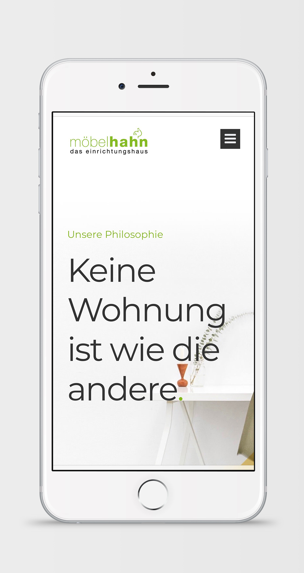 MockUp Möbel Hahn Webseite
