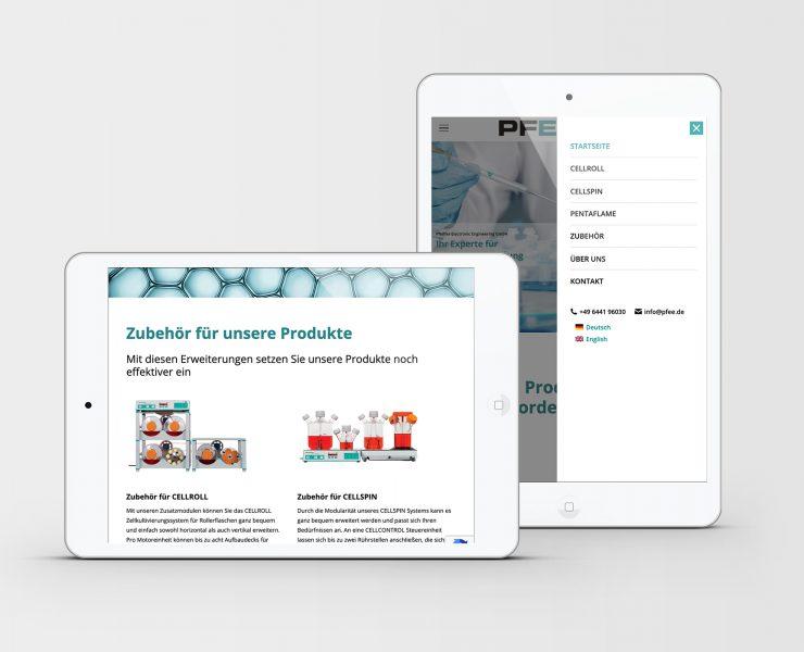 MockUp Webseite Pfeiffer Electronic Engineering GmbH