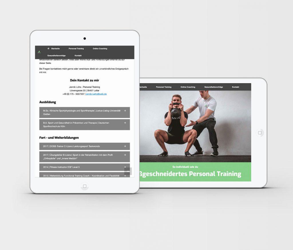 MockUp Webseite Personaltrainer Jannik Luehs