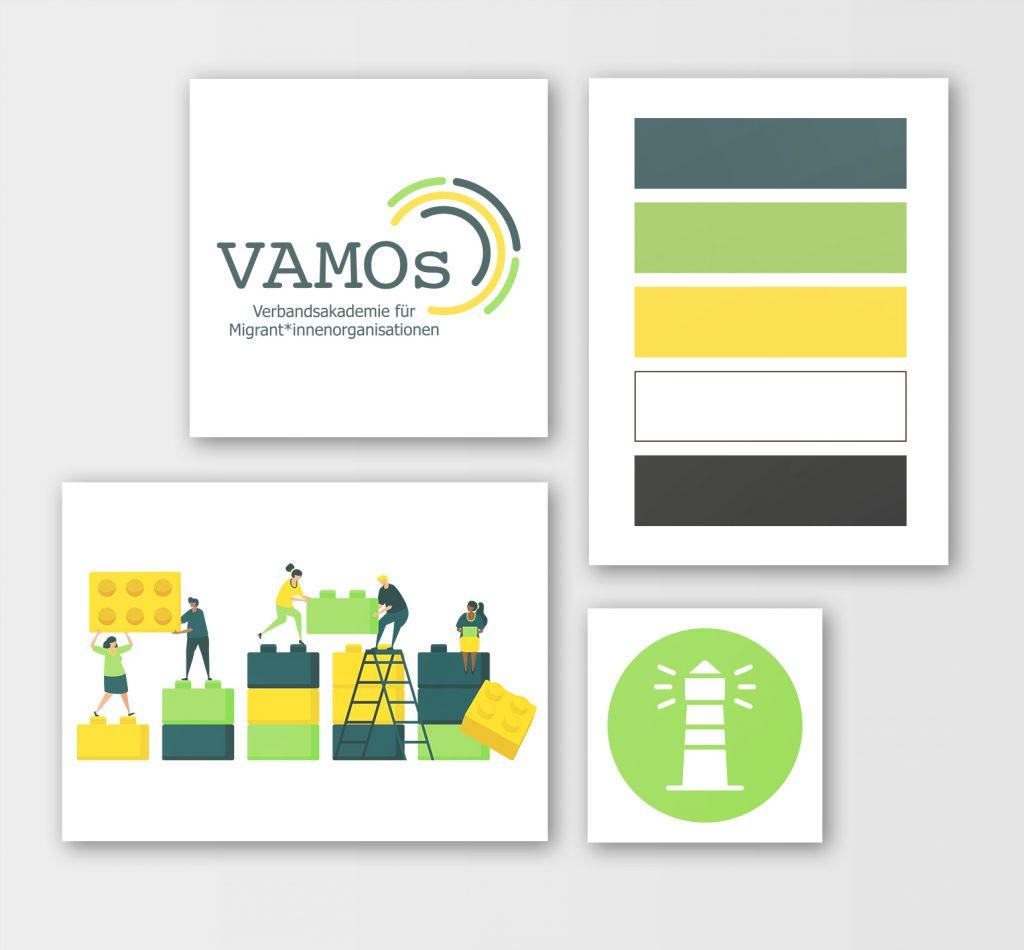 MockUp VAMOs Corporate Design Elemente