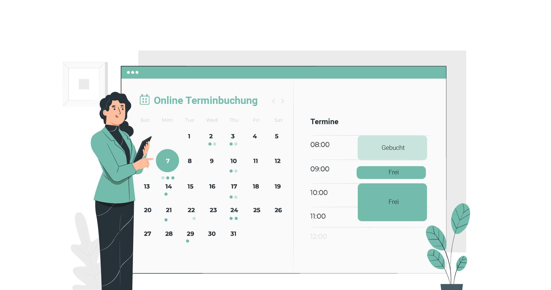 Click & Meet Online Terminbuchung Illustration
