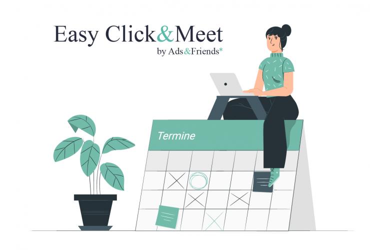 Click & Meet: Frau sitzt mit Computer auf einem Kalender