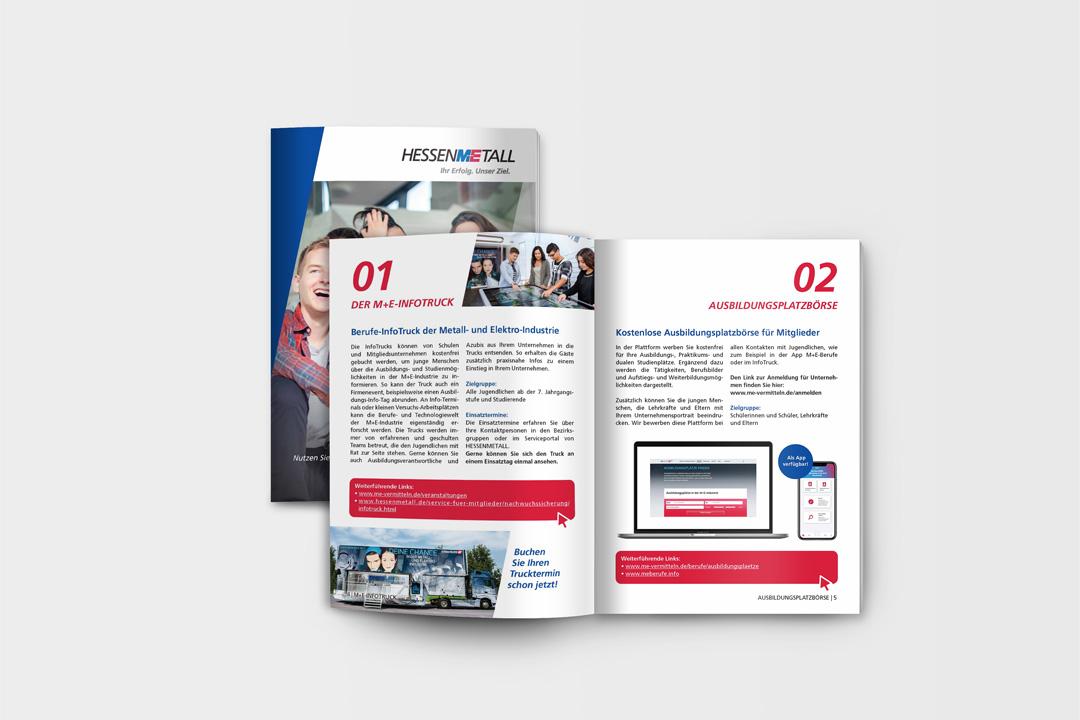 Titelseite und Innenseiten der Broschüre für Nachwuchsförderung