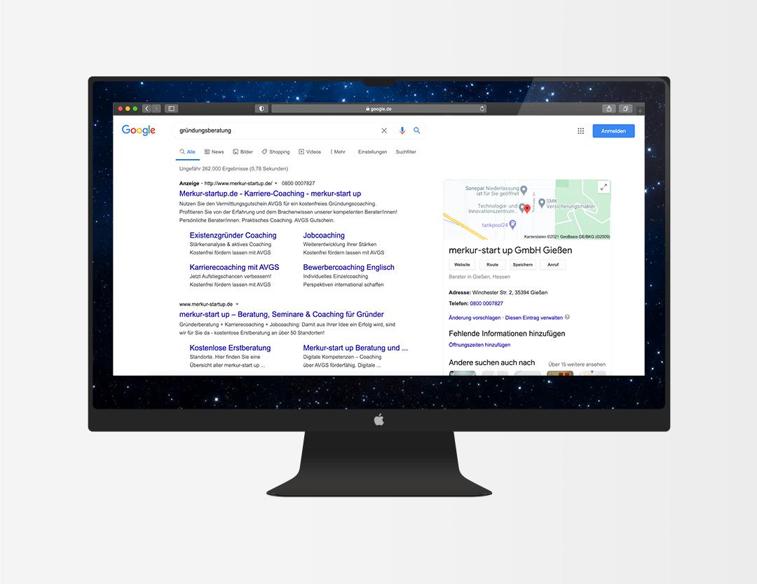 MockUp Google Ads merkur-startup