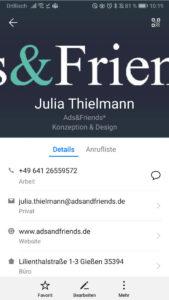 Kontakteintrag-Smartphone
